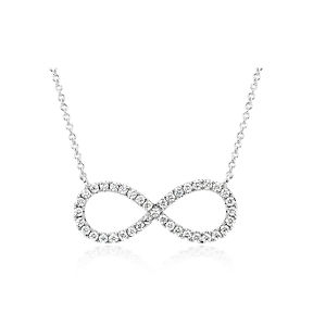 Infinity symbol necklace set with pavé diamonds in 14k white gold.