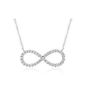 Collier avec symbole infini orné de diamants sertis pavé en or blanc 14carats.