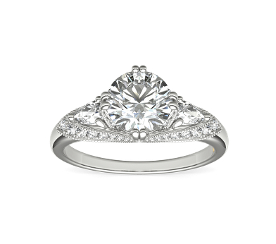 white gold engagement ring set with a round diamond surrounded by small diamond side stones