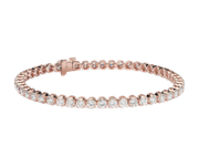 Bracelet tennis diamants en or rose 14 carats