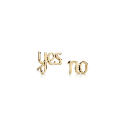 Yes/No Mismatched Stud Earrings