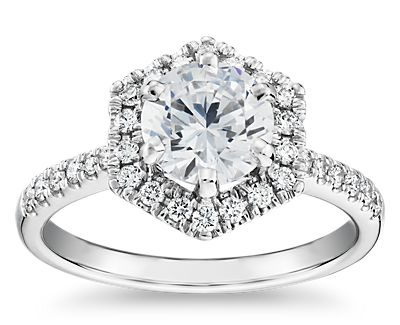 Hexagon Diamond Halo Engagement Ring