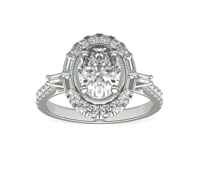 white gold engagement ring set with an oval diamond surrounded by a halo of small round and baguette diamonds