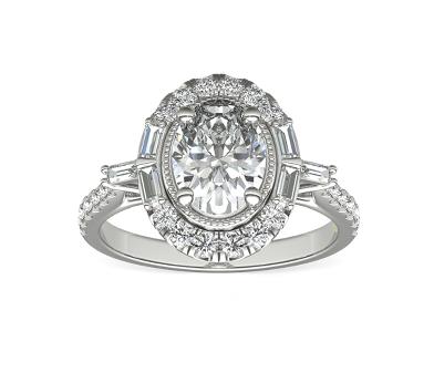 白金订婚戒指,镶嵌一颗椭圆形钻石,并以圆形和长方形细钻光环环绕