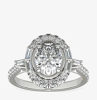 ZAC Zac Posen vintage oval halo engagement ring featuring both round and baguette-cut diamonds in 14k white gold.