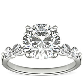 The Gallery Collection Floating Diamond Engagement Ring in Platinum