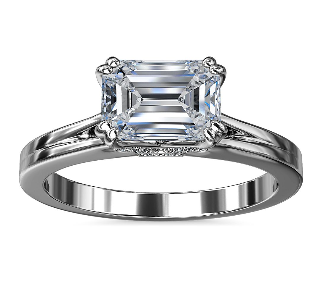 East West Emerald cut diamond engagement ring