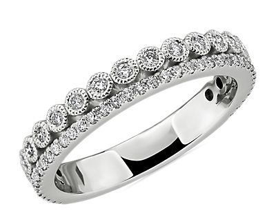 Double Row Pavé and Milgrain Bezel Diamond Wedding Ring