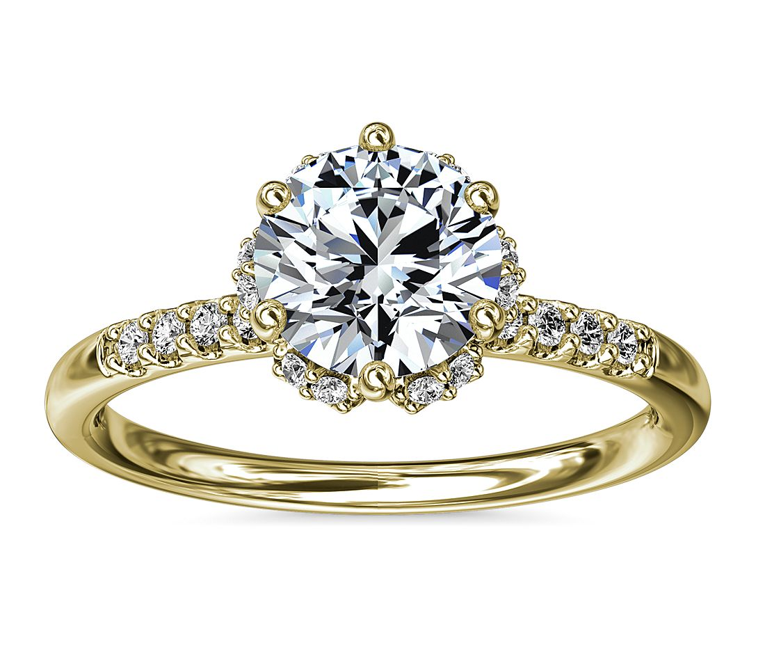 Yellow gold hidden halo diamond engagement ring