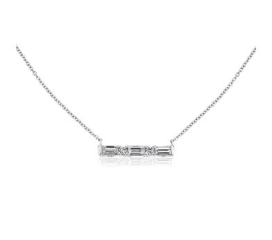鑲嵌相間排列圓形與長方形鑽石的白金長條項鍊
