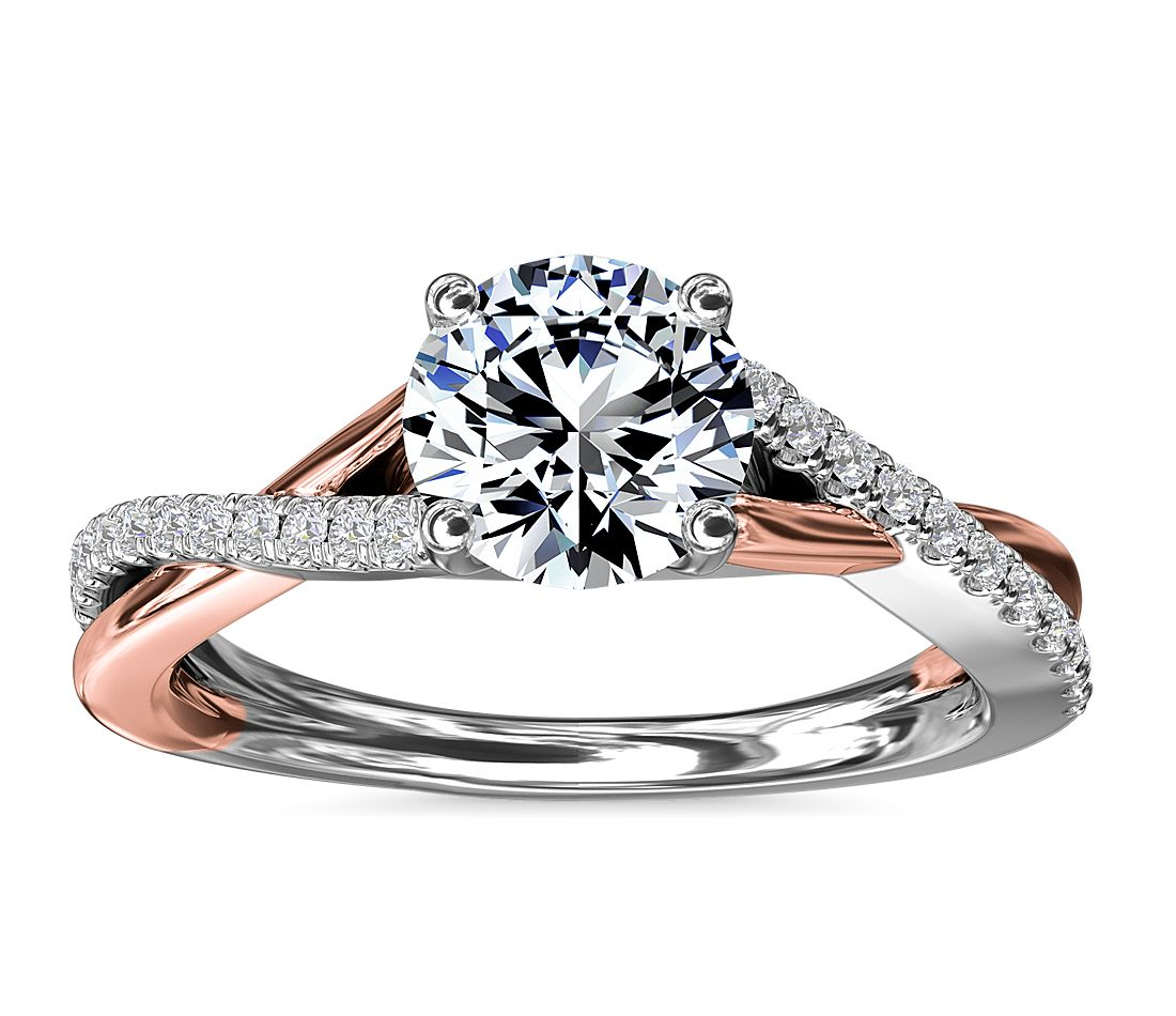 Two tone rose and white gold twist diamond engagement ring