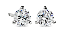 Martini Stud Earrings in 14k White Gold