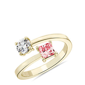 Lab-Grown Pink Diamond Round and Princess Bypass Ring