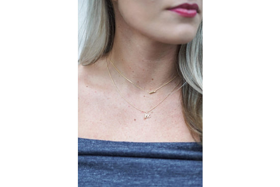 Petite Bar Necklace with Diamond Detail in 14k Yellow Gold and
