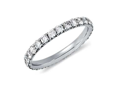 french pav diamond eternity ring in platinum 1 ct tw - Women Wedding Ring
