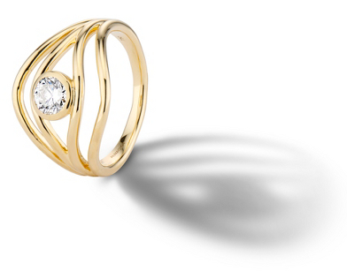 Almasika 'Serene' Bezel-Set Diamond Engagement Ring in 18k Yellow Gold Designer 02: AURORA LOPEZ MEJIA
