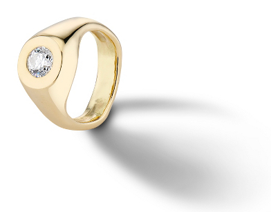 Aurora Lopez Mejia 'Mara' Bezel-Set Diamond Engagement Ring in 18k Yellow Gold