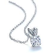 Diamond Solitaire Pendants in 14k White Gold