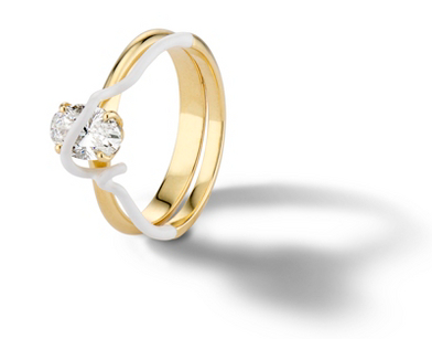Bea Bongiasca 'You're So Mine' Prong-Set DIamond Engagement Ring in Enamel and 18k Yellow Gold