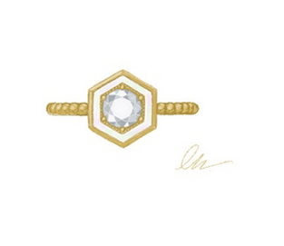 The designer's sketch of her 'Motu' ring.