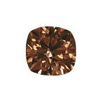 Cushion shape diamond with a dark brown color