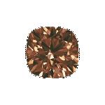 Cushion shape diamond with a deep brown colour