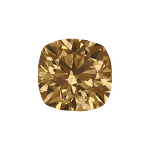 Cushion shape diamond selected with a fancy brown color