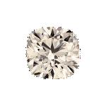 Cushion shape diamond with a faint brown color