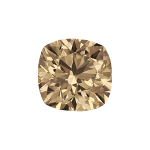 Cushion shape diamond with a light brown color