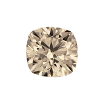 Cushion shape diamond with a very light brown color