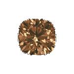 Cushion shape diamond with a vivid brown colour