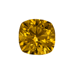 Cushion shape diamond with a dark yellow colour