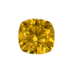 Cushion shape diamond with a deep yellow color