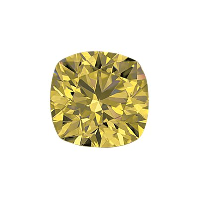 0,41-Carat Yellow Cushion Cut Diamond