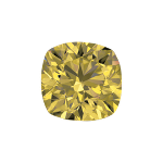 Cushion shape diamond with a fancy yellow colour