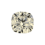 Cushion shape diamond with a faint yellow color