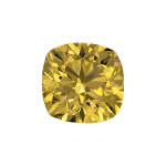 Cushion shape diamond with a intense yellow colour