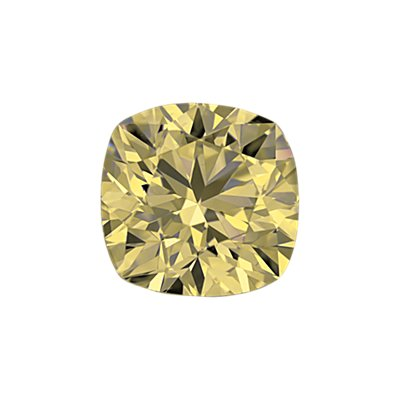 0.51-Carat Light Yellow Cushion Cut Diamond