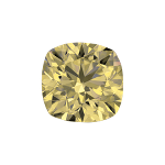 Cushion shape diamond with a light yellow colour