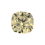 Cushion shape diamond with a very light yellow colour