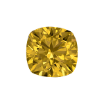 Cushion shape diamond with a vivid yellow colour