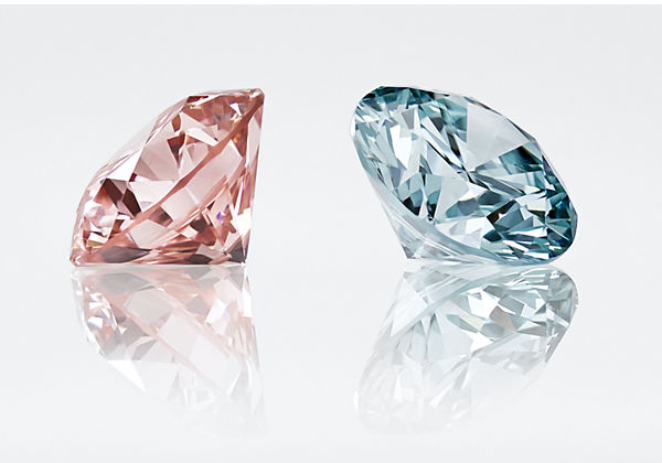 Pink and blue Lightbox lab-grown diamonds
