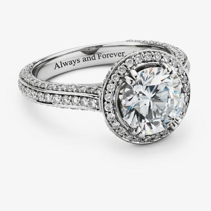 可镌刻订婚戒指