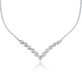 "Diamond ""V"" necklace in 18k white gold."
