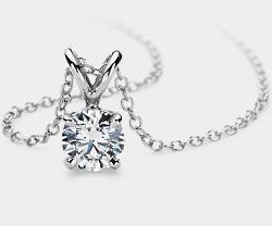 钻石单石铂金吊坠