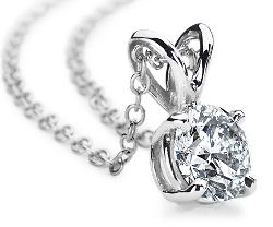 Diamond Solitaire Pendants in 18k White Gold