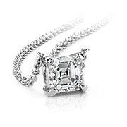Asscher-Cut Diamond Solitaire Pendants in 14k White Gold