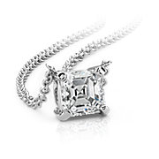 Asscher-Cut Diamond Solitaire Pendants in 14k White Gold