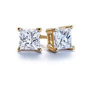 Puces d'oreilles en diamant en or jaune 14carats taille princesse