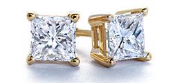 公主方形14k 黃金 鑽石釘款耳環
